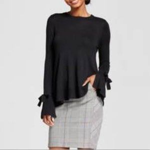 A New Day Black Bell Sleeve Tie Sweater